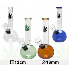 Бонг стеклянный Leaf Color Micro- H:12cm- Ø: 18mm