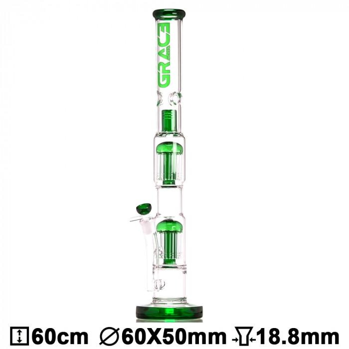 Бонг стеклянный Grace Glass LABZ Series   Haze Maze v2 Green H:60cm ?:55/45mm SG:18.8mm - фото 1 - Kalyanchik.ua