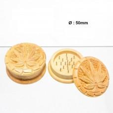 Гриндер деревянный Carved Leaf из 2 частей, 50мм
