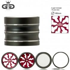 Гриндер металлический  Grace Glass с окошком на 4 секции, 60 мм