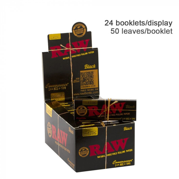 Бумага для самокруток RAW Connoisseur Black + TIPS - фото 1 - Kalyanchik.ua